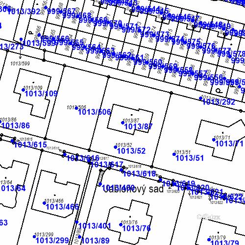 Katastrální mapa Parcela 1013/87 na katastrálním území Moravany u Brna