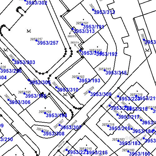 Katastrální mapa Parcela 3953/193 na katastrálním území Řečkovice