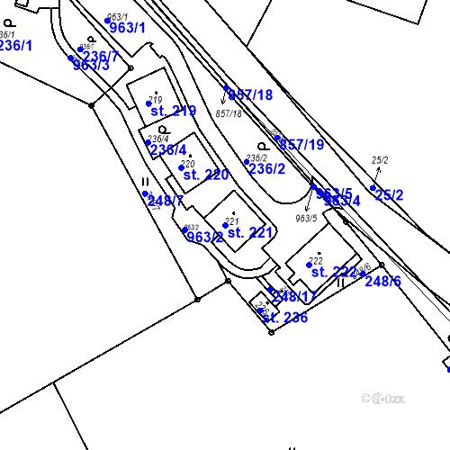 Katastrální mapa Parcela 221 na katastrálním území Žampach