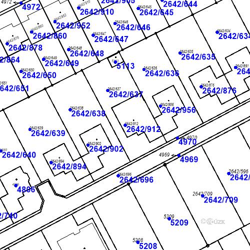 Katastrální mapa Parcela 2642/912 na katastrálním území Kuřim