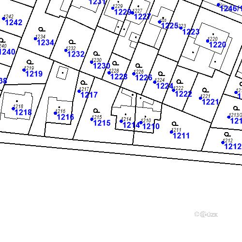 Katastrální mapa Parcela 1214 na katastrálním území Kuřim