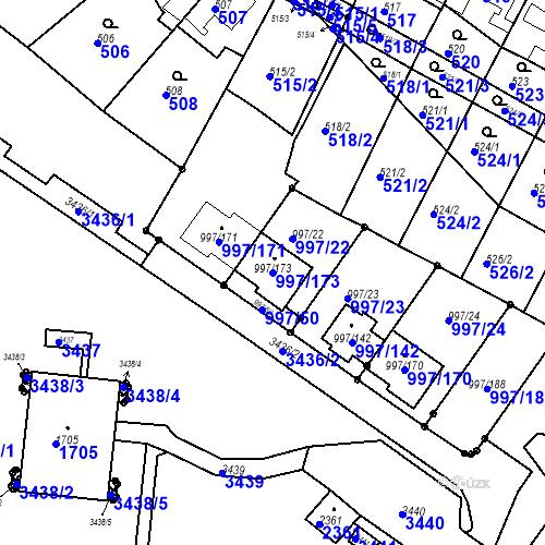 Katastrální mapa Parcela 997/173 na katastrálním území Kohoutovice