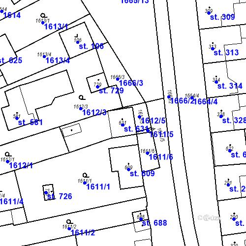 Katastrální mapa Parcela 631 na katastrálním území Přibice