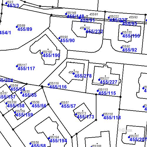 Katastrální mapa Parcela 455/278 na katastrálním území Kníničky