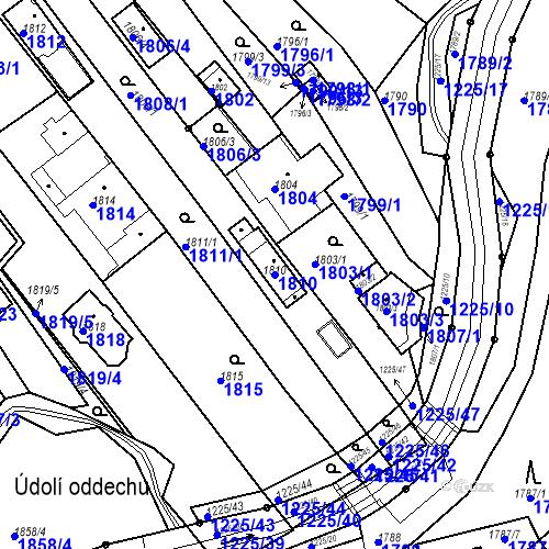 Katastrální mapa Parcela 1810 na katastrálním území Bystrc