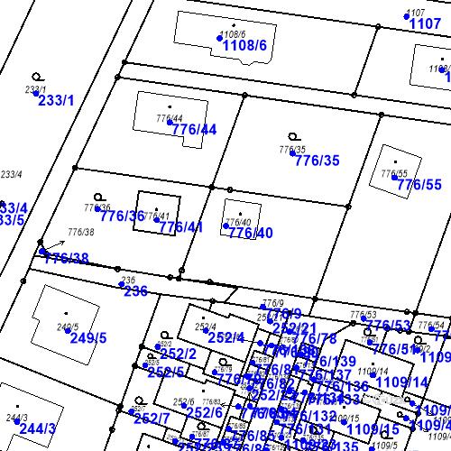 Katastrální mapa Parcela 776/40 na katastrálním území Moravské Knínice
