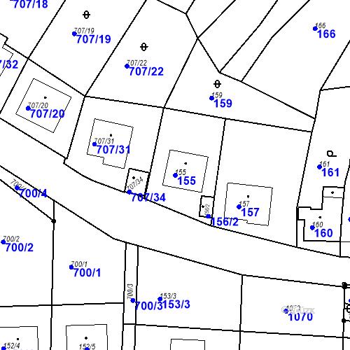 Katastrální mapa Parcela 155 na katastrálním území Moravské Knínice