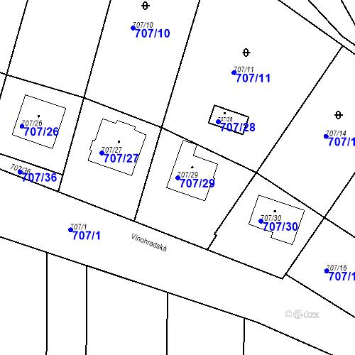 Katastrální mapa Parcela 707/29 na katastrálním území Moravské Knínice
