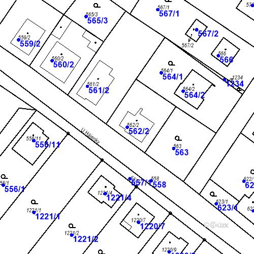 Katastrální mapa Parcela 562/2 na katastrálním území Moravské Knínice