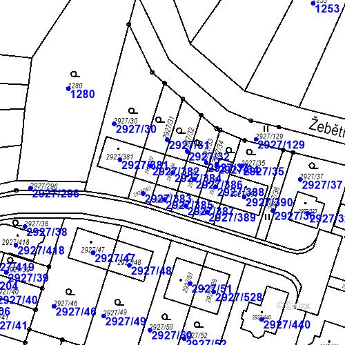 Katastrální mapa Parcela 2927/384 na katastrálním území Žebětín