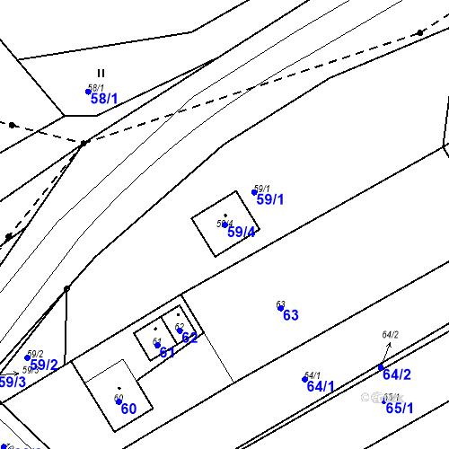 Katastrální mapa Parcela 59/4 na katastrálním území Prštice