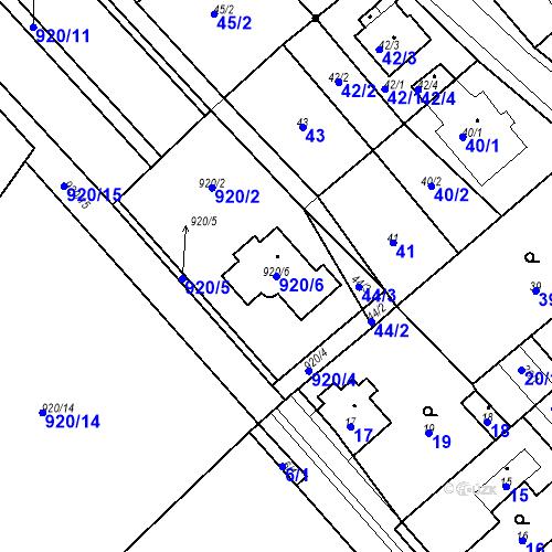 Katastrální mapa Parcela 920/6 na katastrálním území Prštice