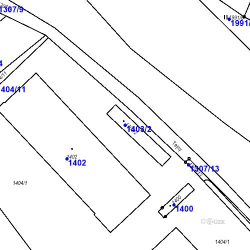Katastrální mapa Parcela 1403/2 na katastrálním území Veverská Bítýška