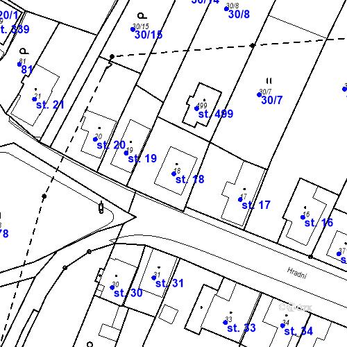 Katastrální mapa Parcela 18 na katastrálním území Nový Hrádek