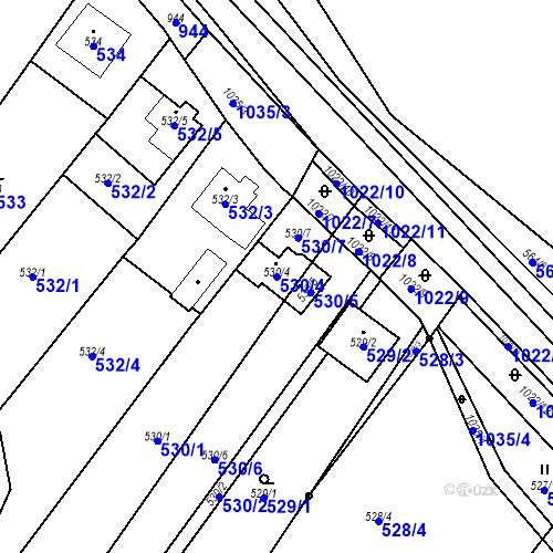 Katastrální mapa Parcela 530/4 na katastrálním území Tetčice