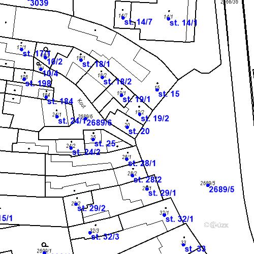 Katastrální mapa Parcela 20 na katastrálním území Neslovice