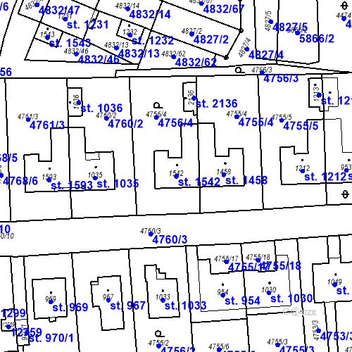 Katastrální mapa Parcela 1542 na katastrálním území Hrušovany nad Jevišovkou