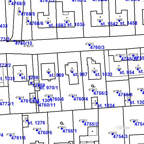Katastrální mapa Parcela 967 na katastrálním území Hrušovany nad Jevišovkou