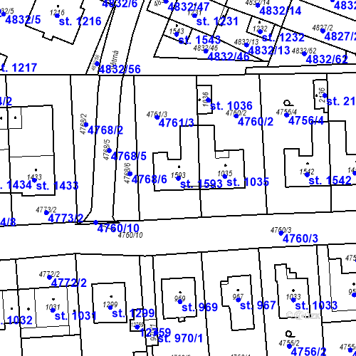 Katastrální mapa Parcela 1593 na katastrálním území Hrušovany nad Jevišovkou