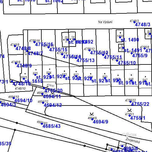 Katastrální mapa Parcela 922 na katastrálním území Hrušovany nad Jevišovkou