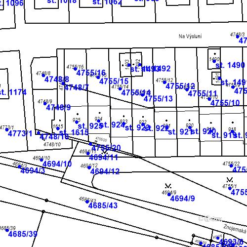 Katastrální mapa Parcela 923 na katastrálním území Hrušovany nad Jevišovkou