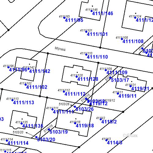 Katastrální mapa Parcela 4111/128 na katastrálním území Vysoké Mýto