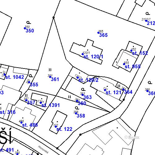 Katastrální mapa Parcela 120/2 na katastrálním území Rtyně v Podkrkonoší