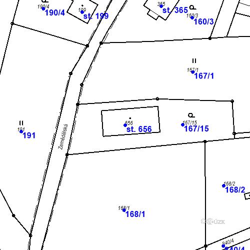 Katastrální mapa Parcela 656 na katastrálním území Lhota za Červeným Kostelcem