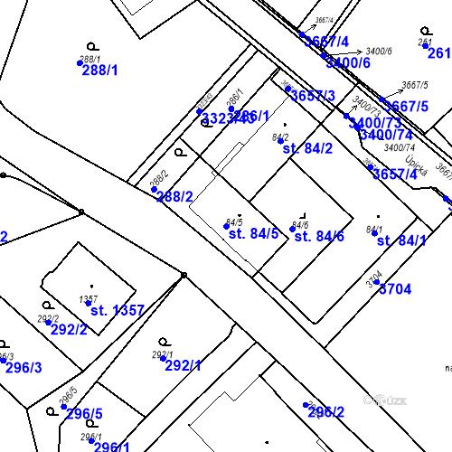 Katastrální mapa Parcela 84/5 na katastrálním území Rtyně v Podkrkonoší