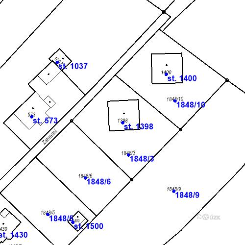 Katastrální mapa Parcela 1398 na katastrálním území Rtyně v Podkrkonoší