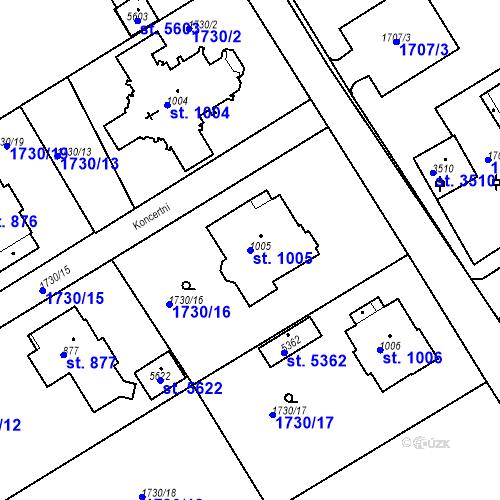 Katastrální mapa Parcela 1005 na katastrálním území Trutnov
