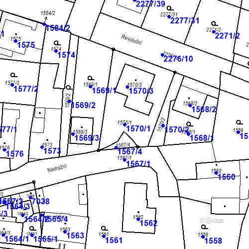 Katastrální mapa Parcela 1570/1 na katastrálním území Holice v Čechách