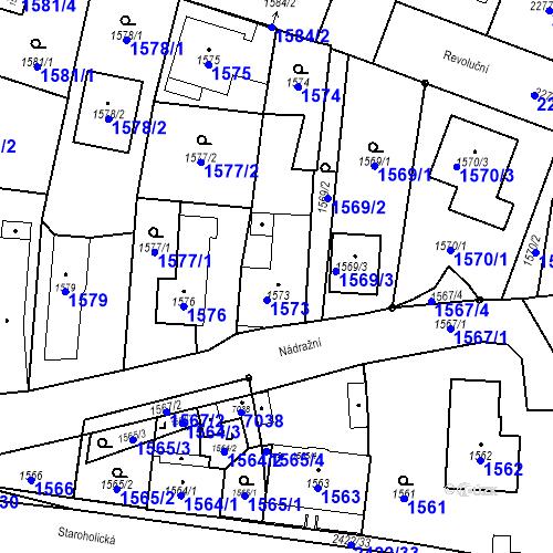 Katastrální mapa Parcela 1573 na katastrálním území Holice v Čechách