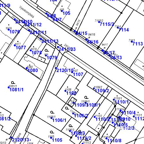Katastrální mapa Parcela 1107 na katastrálním území Holice v Čechách