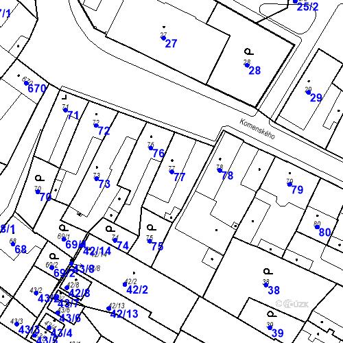 Katastrální mapa Parcela 77 na katastrálním území Holice v Čechách