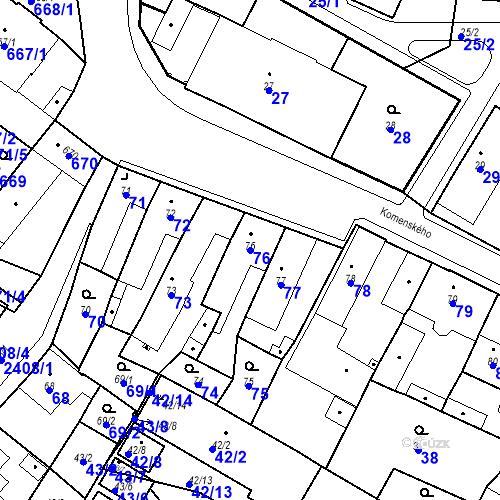Katastrální mapa Parcela 76 na katastrálním území Holice v Čechách