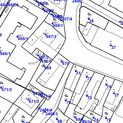 Katastrální mapa Parcela 670 na katastrálním území Holice v Čechách