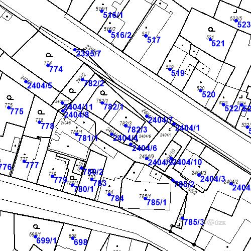 Katastrální mapa Parcela 782/3 na katastrálním území Holice v Čechách