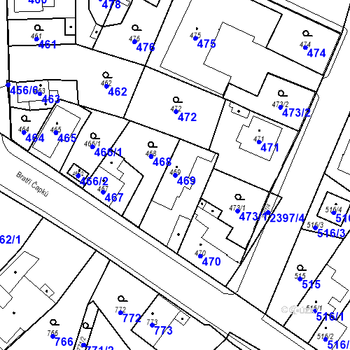 Katastrální mapa Parcela 469 na katastrálním území Holice v Čechách