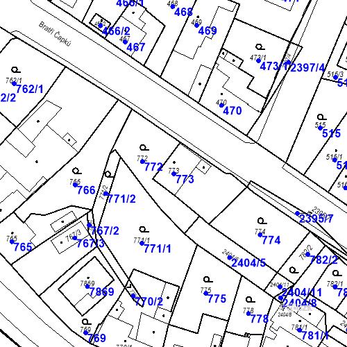Katastrální mapa Parcela 773 na katastrálním území Holice v Čechách