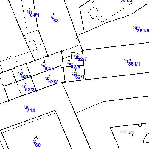 Katastrální mapa Parcela 62/1 na katastrálním území Josefov u Jaroměře
