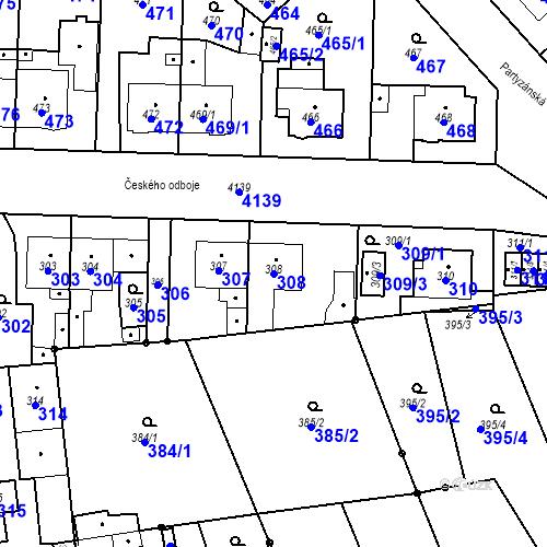 Katastrální mapa Parcela 308 na katastrálním území Jaroměř