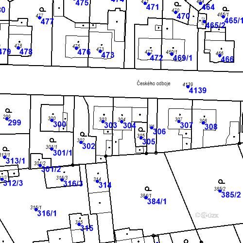 Katastrální mapa Parcela 304 na katastrálním území Jaroměř