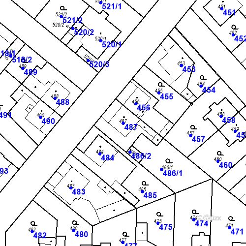 Katastrální mapa Parcela 487 na katastrálním území Jaroměř
