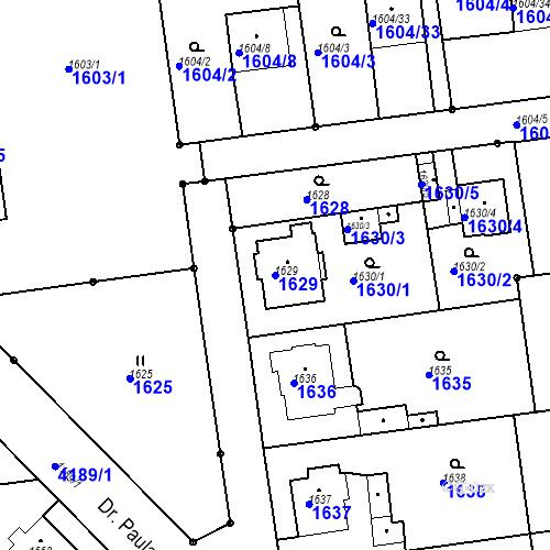 Katastrální mapa Parcela 1629 na katastrálním území Jaroměř