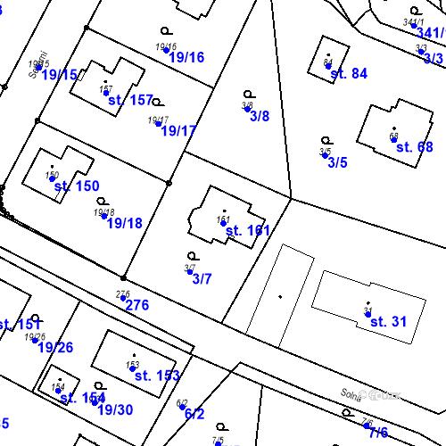 Katastrální mapa Parcela 161 na katastrálním území Divec