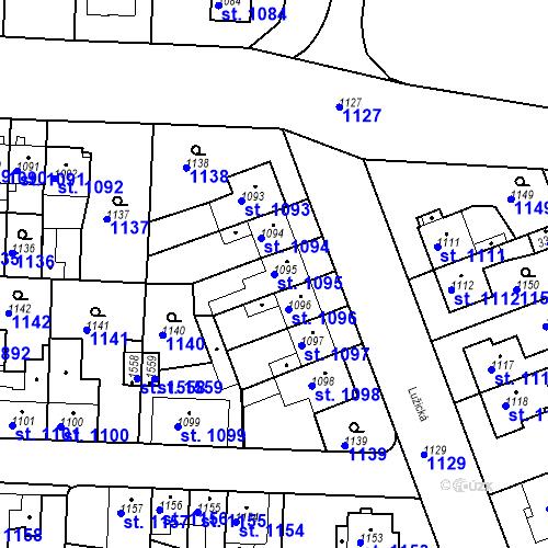 Katastrální mapa Parcela 1095 na katastrálním území Slezské Předměstí