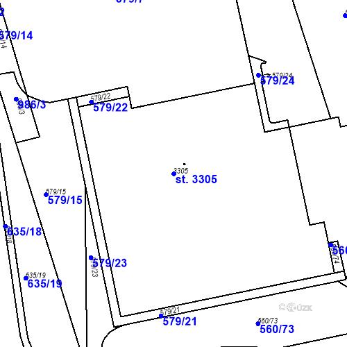 Katastrální mapa Parcela 3305 na katastrálním území Nový Hradec Králové