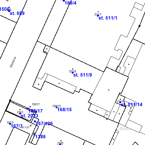 Katastrální mapa Parcela 511/9 na katastrálním území Hradec Králové