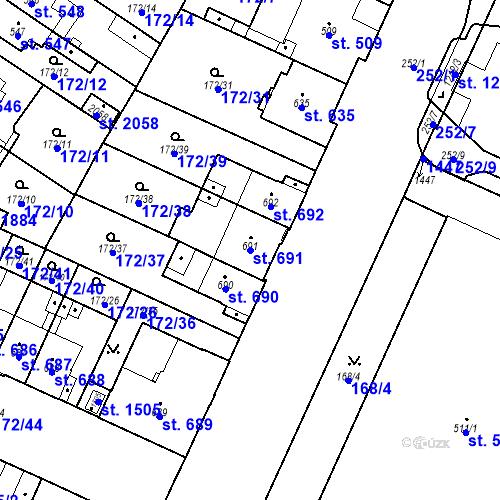 Katastrální mapa Parcela 691 na katastrálním území Hradec Králové